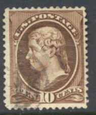 209b 10c Jefferson, black brown, Used AVG 209busedav
