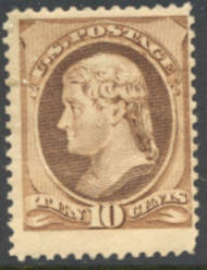 209 10c Jefferson, brown, Mint NH F-VF 209nh
