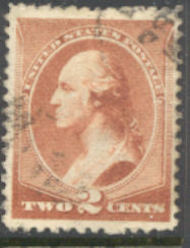 210 2c Washington, red brown, Used AVG 210uavg
