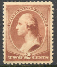 210 2c Washington, red brown, Mint NH AVG 210nhavg