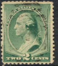 213 2c Washington, green, Used F-VF 213used