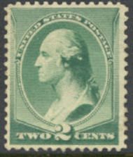 213 2c Washington, green, Mint NH AVG 213nhavg