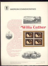 1487 8c Willa Cather USPS Cat. 22 Commemorative Panel cp022