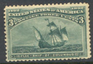 232 3c Columbian, green, Average Unused OG 232ogavg