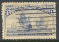233 4c Columbian, ultramarine, Average Used 233uavg