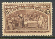 234 5c Columbian, chocolate, Average Mint NH 234nhavg
