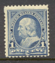 247 1c Franklin, blue, AVG Used 247uavg