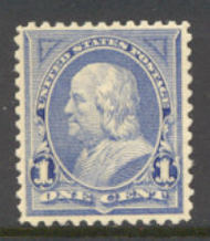247 1c Franklin, blue, AVG Unused OG 247ogavg