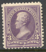 253 3c Jackson, purple, AVG Unused 253ogavg