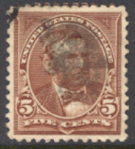 255 5c Grant, chocolate, AVG Used 255uavg