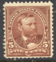 255 5c Grant, chocolate, F-VF Unused 255og