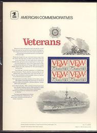 1525 10c VFW 10c USPS Cat. 27 Commemorative Panel cp027
