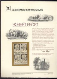 1526 10c Robert Frost USPS Cat. 28 Commemorative Panel cp028