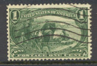 285 1c Trans Mississippi Marquette, green, AVG Used 285UAVG