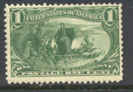 285 1c Trans Mississippi Marquette, green, F-VF Mint NH 285nh