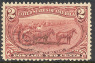 286 2c Trans Mississippi Farming, copper red, F-VF Used 286used