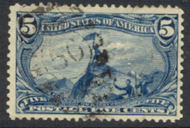 288 5c Trans Mississippi Fremont, dull blue, F-VF Used 288used