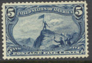 288 5c Trans Mississippi Fremont, dull blue, Mint NH Minor Defects 288nhmd
