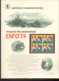 1527 10c EXPO '74 USPS Cat. 29 Commemorative Panel cp029