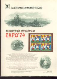 1527 10c EXPO '74 USPS Cat. 29 Commemorative Panel cp029