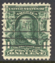 300 1c Franklin, blue green,  Used, Minor defects 300usedmd
