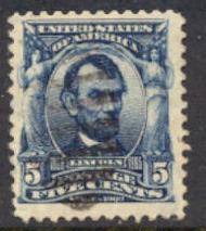 304 5c Lincoln, blue, AVG Used 304uavg