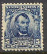 304 5c Lincoln, blue, AVG Mint NH 304nhavg