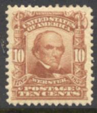 307 10c Webster, pale red brown, AVG Mint NH 307nhavg