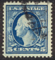 378 5c Washington, Perf 12, SL Wmk.,AVG Used 378uavg