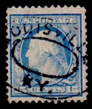 382 15c Washington ,pale ultra, Perf 12, SL Wmk., AVG Used 382uavg