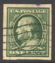 383 1c Franklin, green, SL Wmk Imperforate, AVG  Used 383usedavg
