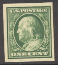 383 1c Franklin, green, SL Wmk Imperforate, AVG Unused OG 383ogavg