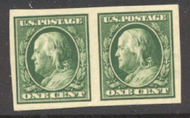 383 1c Franklin, green, SL Wmk ,VF Mint NH Imperf Pair 383nhpr
