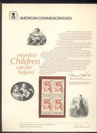 1549 10c Retarded Children USPS Cat. 40 Commemorative Panel cp040