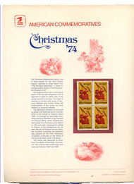 1550 10c Christmas-Angel USPS Cat. 42 Commemorative Panel cp042