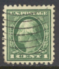 424 1c Washington, green, Perf 10, SL Wmk, AVG Used 424usedavg