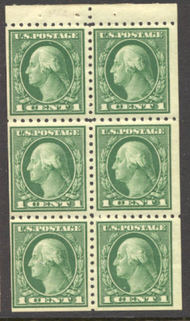 424d 1c Washington, green, Perf 10, SL Wmk, F-VF Mint NH Booklet 424dnh