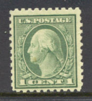 424 1c Washington, green, Perf 10, SL Wmk, AV G Unused OG 424ogavg