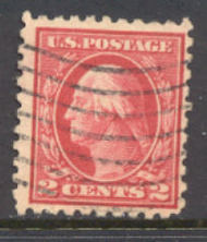 425 2c Washington, rose red, Perf 10, SL Wmk, AVG  Used 425usedavg