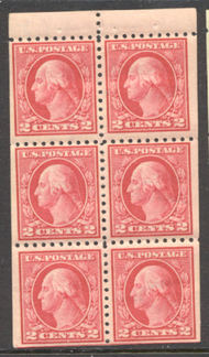 425e 2c Washington, Perf 10, SL Wmk, F-VF Mint NH Booklet Pane 425enh