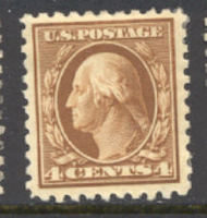 427 4c Washington, brown, Perf 10, SL Wmk, AVG  Unused OG 427ogavg