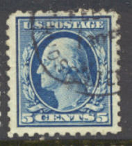 428 5c Washington, blue, Perf 10, SL Wmk, AVG Used 428uavg