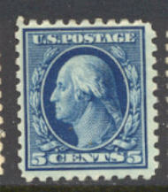 428 5c Washington, blue, Perf 10, SL Wmk, AVG Mint NH 428nhavg