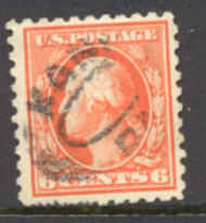 429 6c Washington, red orange, Perf 10, SL Wmk Used Minor Defect 429usedmd