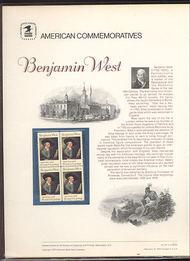 1553 10c Benjamin West USPS Cat. 43 Commemorative Panel cp043