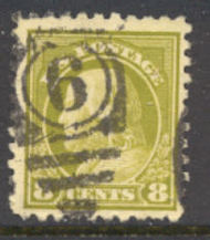 431 8c Franklin, olive green, Perf 10, SL Wmk, AVG Used 431uavg