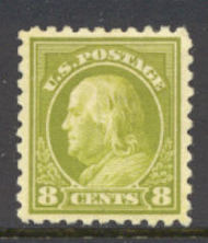 431 8c Franklin, olive green, Perf 10, SL Wmk, AVG Unused OG 431ogavg