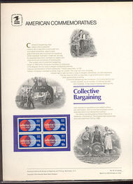 1558 10c Collective Bargaining USPS Cat. 45 Commemorative Panel cp045