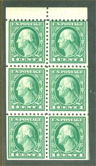 462a 1c Wash. green Perf 10,   AVG Unused Booklet Pane of 6 462aogav