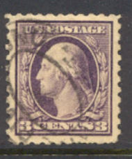 464 3c Washington, violet, Perf 10, No Wmk, AVG Used 464usedavg